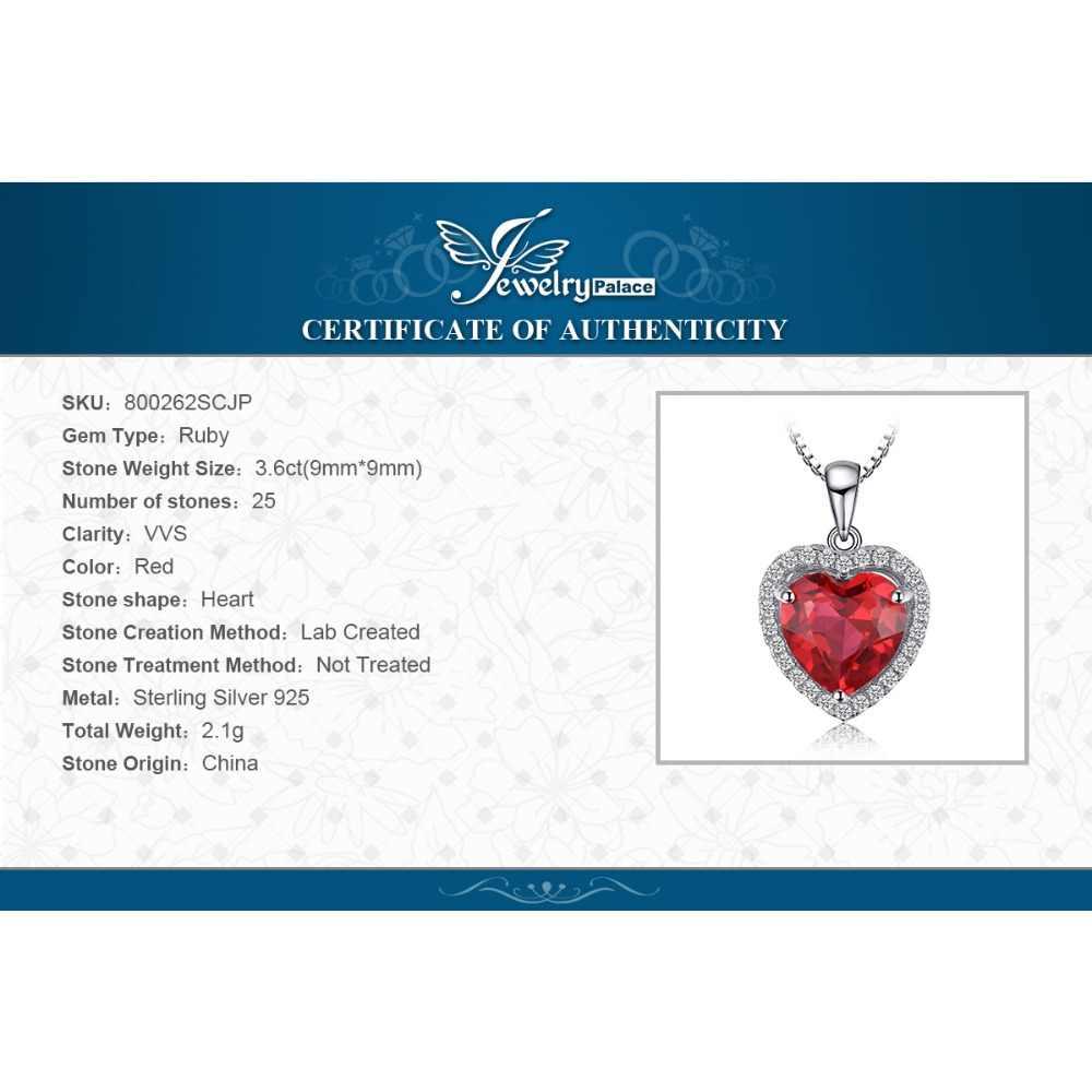 JPalace القلب مكون الأحمر دلاية محلاه بالياقوت قلادة 925 فضة الأحجار الكريمة المختنق بيان قلادة المرأة بدون سلسلة