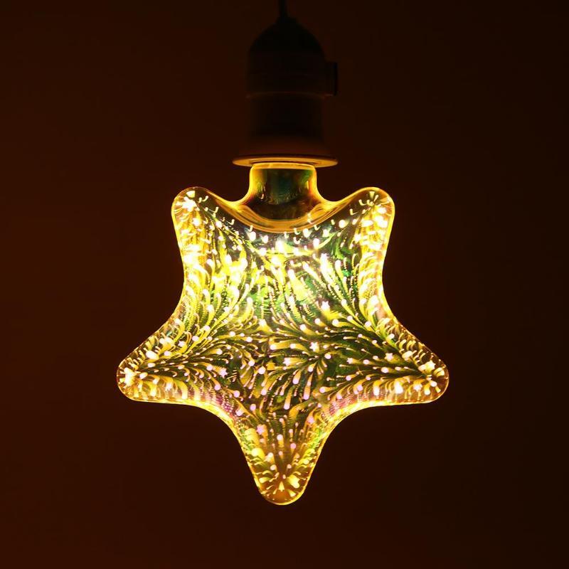 3D Fireworks Decorative LED Light Bulb E27 Edison Bulb Party Decor Filament Lamp Holiday Lighting Warm White AC85-265V