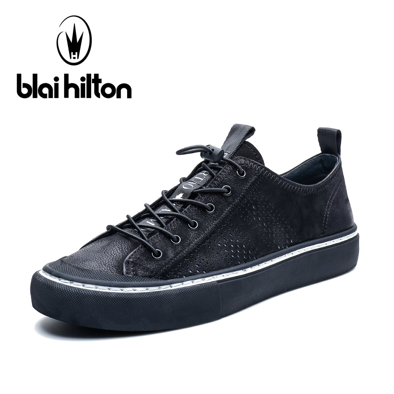 Blai Hilton 2018 New Fashion Spring/Autumn men shoes Genuine Leather shoes Breathable/Comfortable Men's Casual Shoes 2017 fashion red black white men new fashion casual flat sneaker shoes leather breathable men lightweight comfortable ee 20