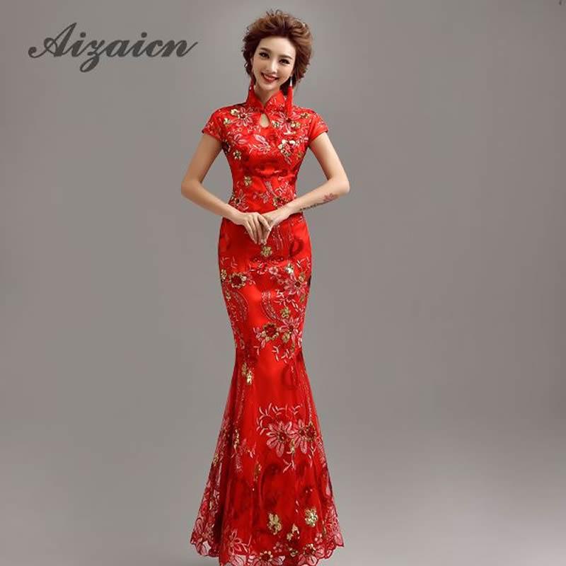 Modern Chinese Traditional Dress Red Long Qipao Lace Mermaid Bride Wedding Cheongsam Vestido Robe Chinoise Oriental