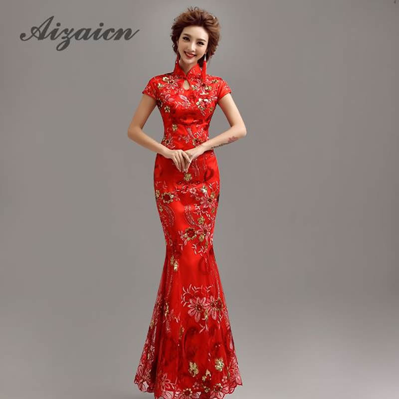 c789d1c5748ca3 Chinese traditionele jurk 2015 zomer stijl lange qipao gele kant ...