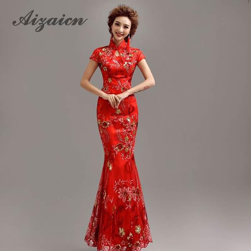 Modernen Chinesischen Traditionellen Kleid Rote Lange Qipao Braut ...