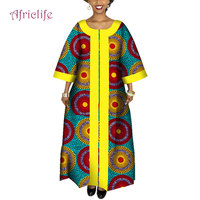 2019 African Dresses for Women Plus Size Fashion Design New African Bazin Casual Long Dress Africa Traditional Clothing WY4095