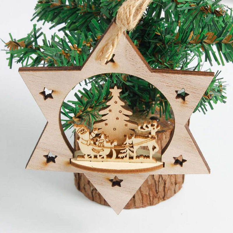 New Snowflake Wooden Embellishments Rustic Merry Christmas