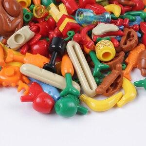 Image 5 - Stad Vrienden Accessoires Onderdelen Bouwsteen Fruit Brood Vis Voedsel Banaan Cherry Voor Legoe Stad Blokken Bricks Speelgoed Voor Kinderen