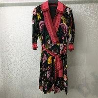 dresses women 2019 spring elegant v neck floral printed dress half sleeve women silk dress casual