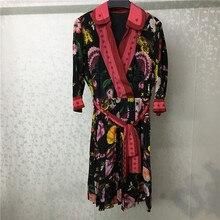 dresses women 2019 spring elegant v-neck floral printed dress half sleeve silk casual