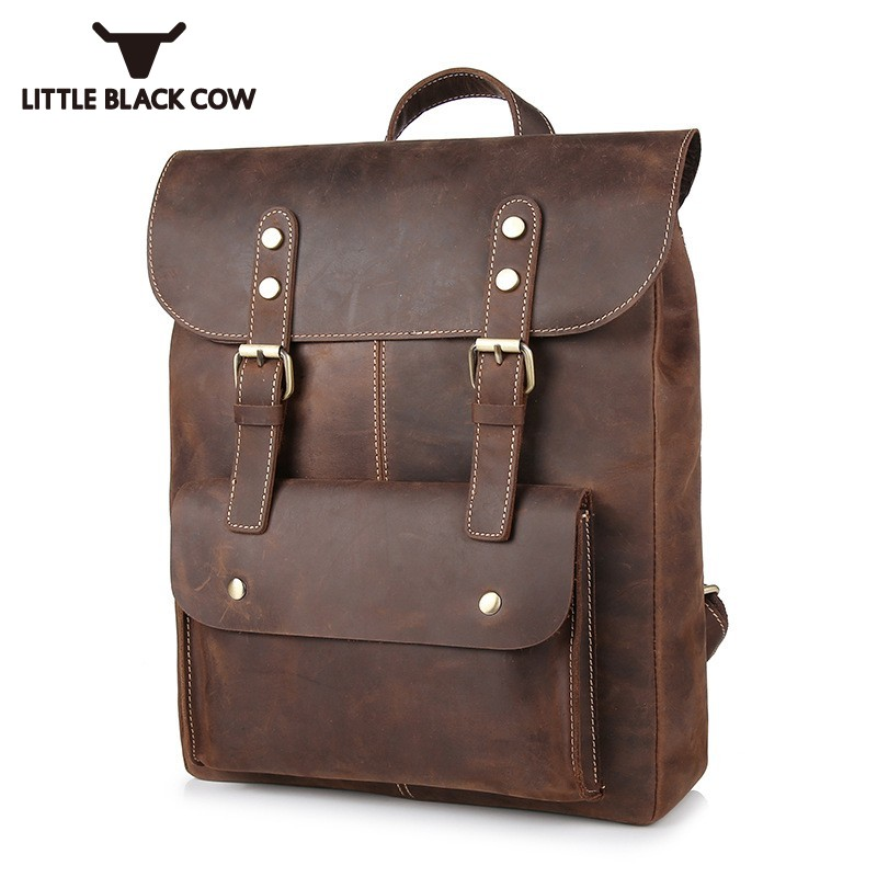 Dedicated 2019 Real Cow Leather Men Travel Backpack Vintage Daypack Men Computer Notebook Schoolbag Brown Casual Large Cover Knapsack Male Latest Technology Luggage & Bags Backpacks