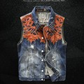 Vintage High Quality New Fashion Mens  Single Breasted Sleeveless Vests Jean Jackets Cowboy Motorcycle Waistcoats Plus Size