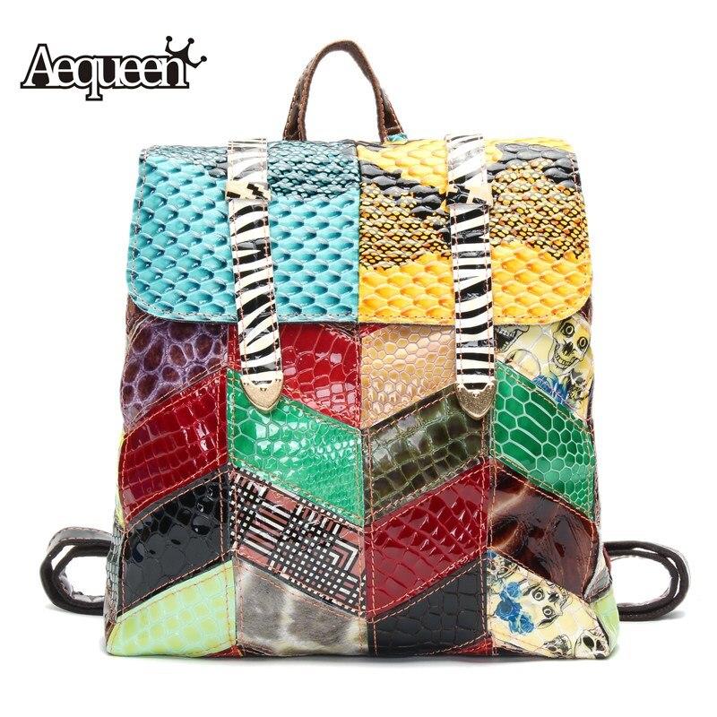 AEQUEEN 2018 mode sac à dos en cuir véritable femme Vintage Patchwork Hasp aléatoire coloré sacs à dos pour les femmes sac de voyage