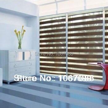 100% poliéster marrón translúcido cebra persianas importar Material ventana cortinas para sala de estar 31in * 48in 7 colores