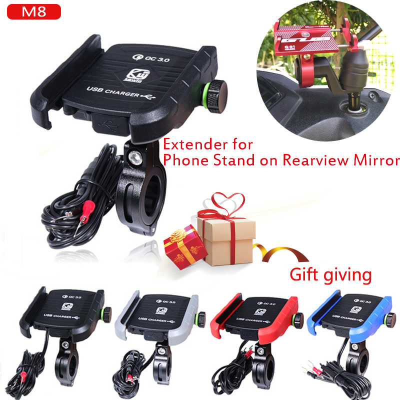 360 Rotating Motorcycle Mobile Phone Holders Stands Moto Motorcycle Phone Holder With Usb Charger For 3.5