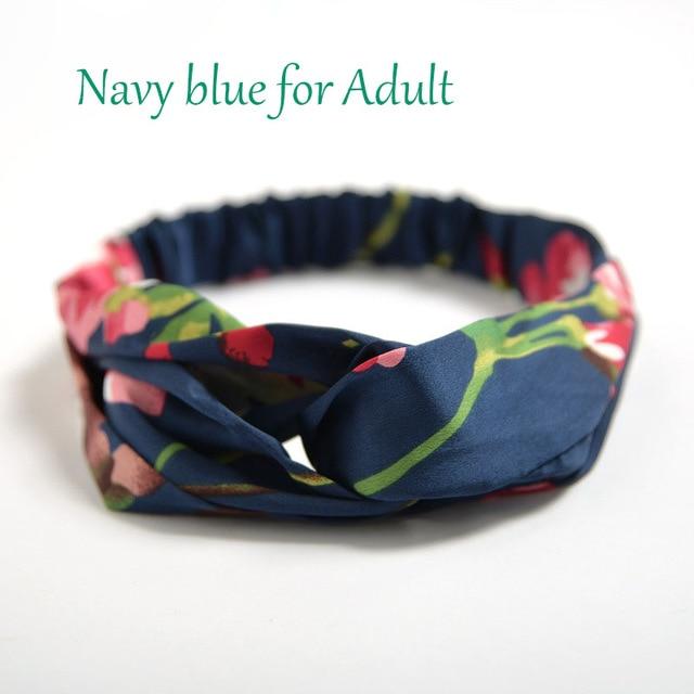Аксессуары для волос повязки для женщин лента для новорожденных повязки на голову для девочки с цветочным рисунком Шелковый, с принтом ткань эластичная резинка для волос тюрбан с узлом - Цвет: Blue