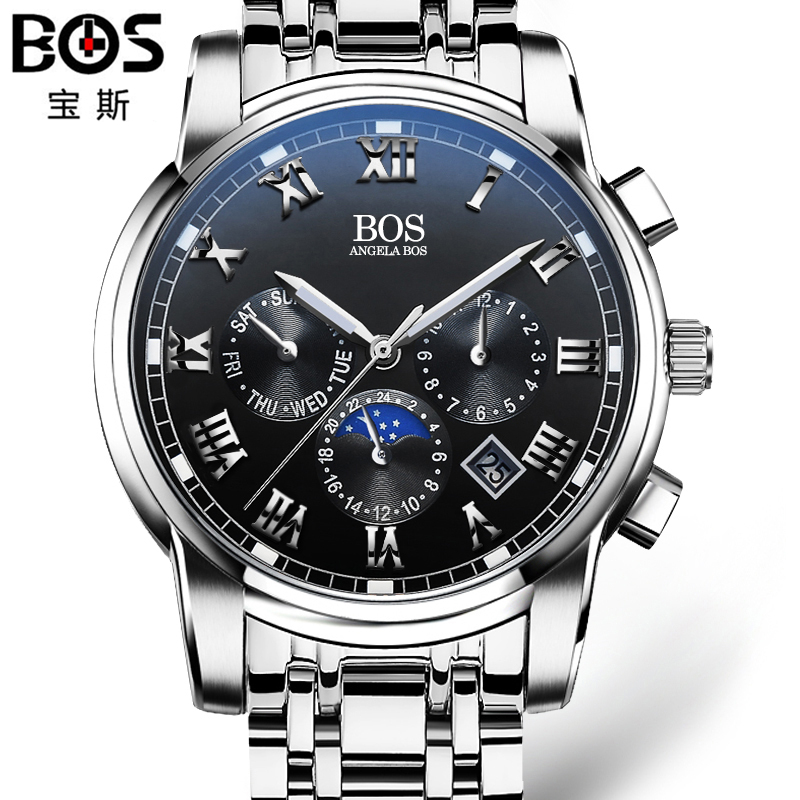 2016 mens watches top brand luxury BOS Three dial work stainless steel Moon Phase Waterproof Luminous men's watches quartz-watch angela bos sub dial work waterproof luminous mens watches top brand luxury 2016 men s watches quartz watch wrist watches for men