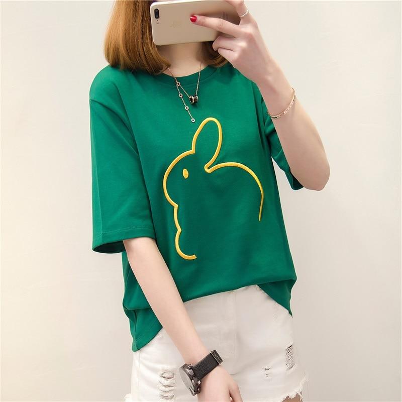 4 вида цветов милый кролик вышитые футболки летние топы для женщин 2018 опрятный стиль шею Половина рукава зеленые футболки