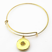 Wholesale 10pcs/lot gold snap adjustable expandable bangle bracelets for 18mm snap buttons bracelet jewelry