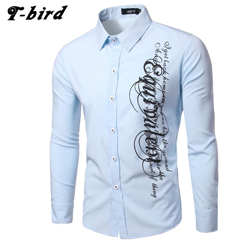 Men Shirt Long Sleeve 2017 Brand Men Shirts Casual Male Slim Fit Sided Letter Printing Chemise Mens Camisas Dress Shirts XXL LAO