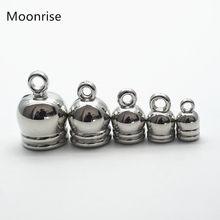 Tampas de ponta do terminal do colar, 50 pçs/lote 4/5/6/8/10mm borlas tampa de couro para diy, fabricação de jóias, busca k173