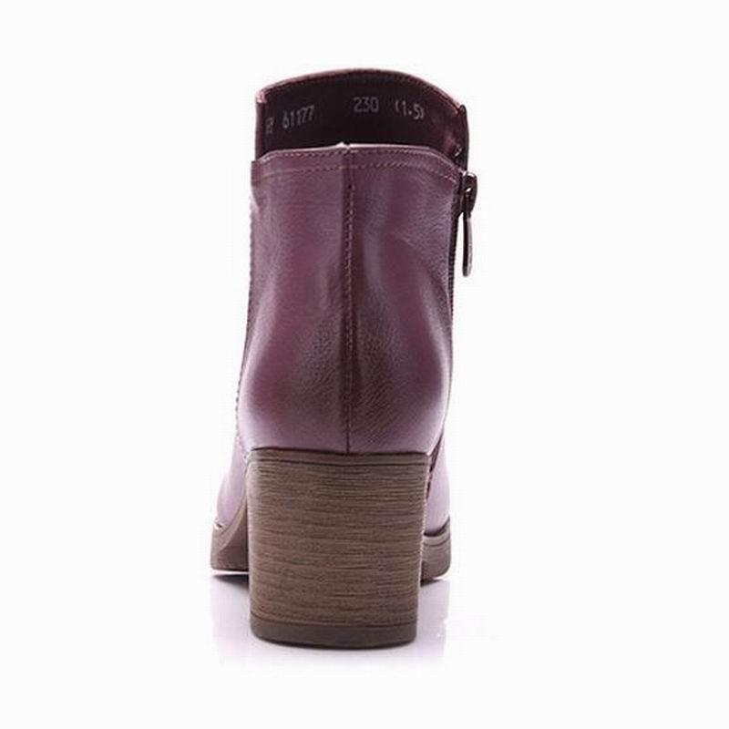 Timetang Cremallera Corto Dedo Botas Mujer Cuadrado Desnudas Pie Negro Cuero Genuino Marca Zapatos Del Tacón Otoño Grueso Moda Las púrpura Mujeres De Damas rFRqYr