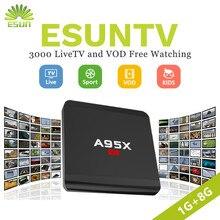 Super estável NEXBOX A95X R1 Com 1 Ano ESUNTV 4000 TV IPTV Android TV Box Set Top Box Rockchip RK3229 itália Alemanha Espanha
