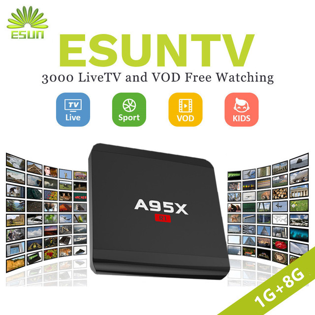 US $78 32 12% OFF|Super stable IPTV NEXBOX A95X R1 With 1 Year ESUNTV 4000  TV Android TV Box Set Top Box Rockchip RK3229 Italy Germany Spain -in