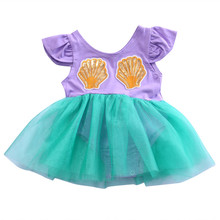 Cute Newborn Baby Girls Mermaid Romper One Pieces Jumpsuit Dress Playsuit