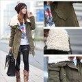 Moda Plus Size mulheres de manga comprida engrosse velo Parka com capuz Zipper casaco casaco de inverno casuais Outwear sml XL
