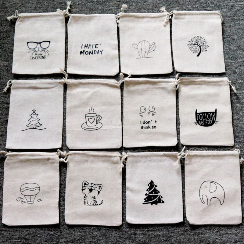 5PCS 10x14CM Jewelry Handmade Cotton Linen Storage Package Bag Drawstring Bag Small Coin Purse Cloth Bag Christmas Gift Pouch
