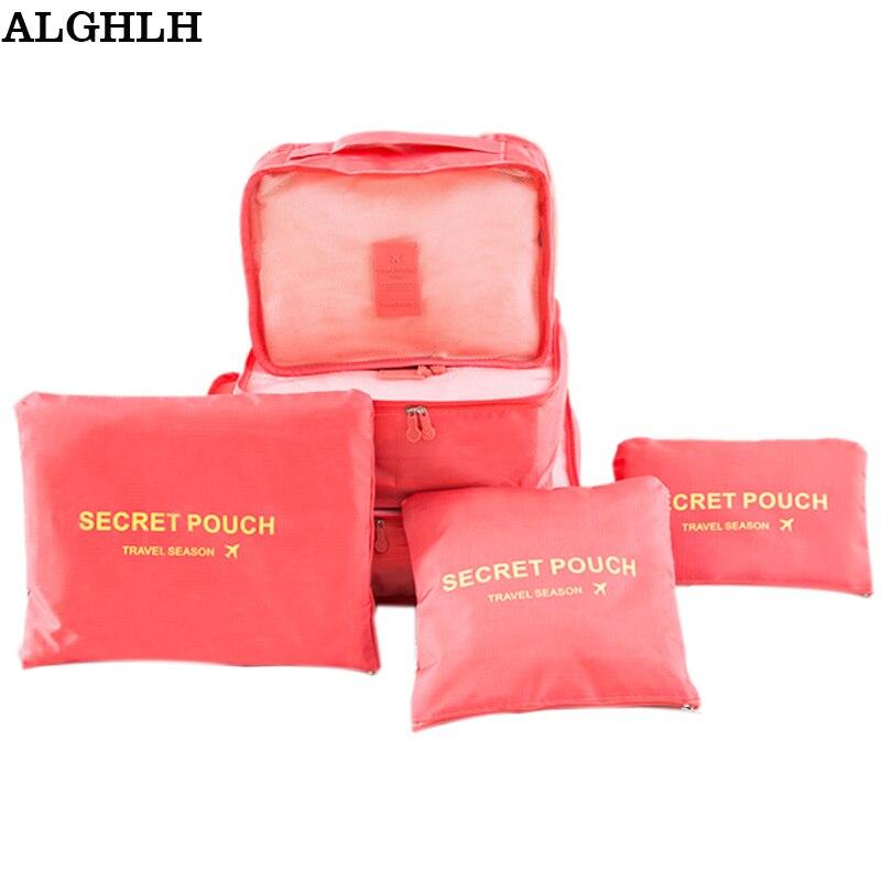 ALGHLH 6Ps Sieviešu ceļojumu uzglabāšanas soma Augstas ietilpības bagāžas apģērbs Tidy Organizer Pouch koferis Portable Waterproof Storage Case