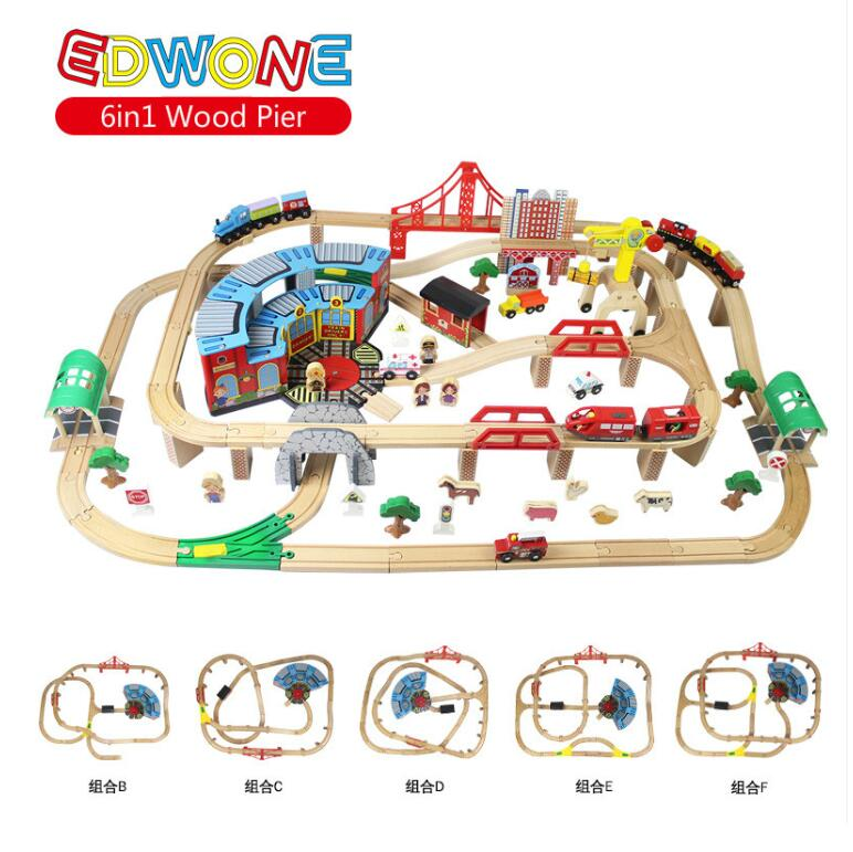 EDWONE 6IN1 168PCS Big Set Magnetic Electric Train Track Set Wooden Railway Track Slot DIY fit