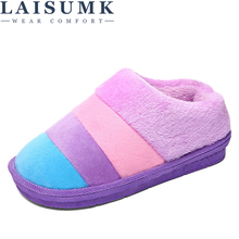 LAISUMK Winter Warm Slippers Women Soft Cotton House Indoor Flats Shoes Lovers Fashion