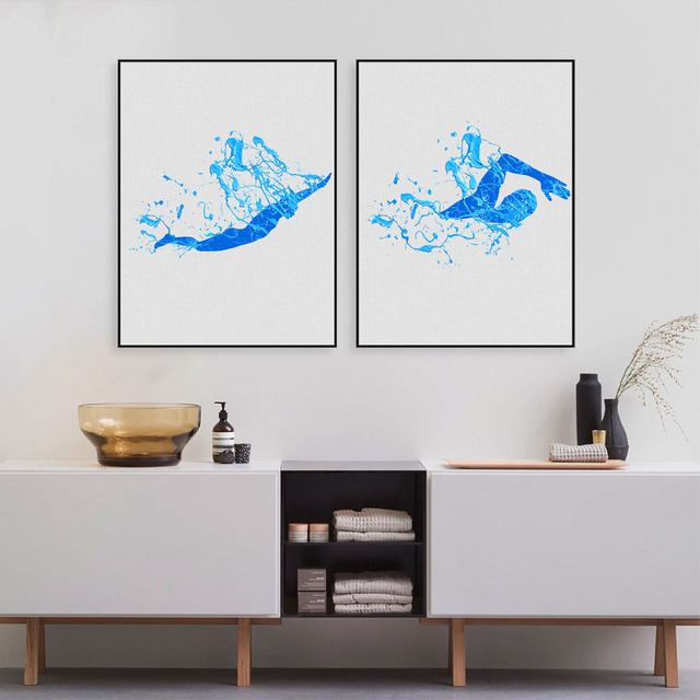 Swimming Canvas Prints Wall Art Pictures Blue Splash Oil Painting Swimmer Poster Bathroom Decoration