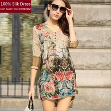 100% Women Summer Slik Dresses 2016 New Fashion Female Flower Print Top Dress Short Sleeve Dress Ladies Mini Slik Dress A80061