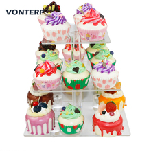 VONTERP square transparent 3 Tier Acrylic Cupcake Display Stand acrylic cake holder with base square(4 between 2 layers)
