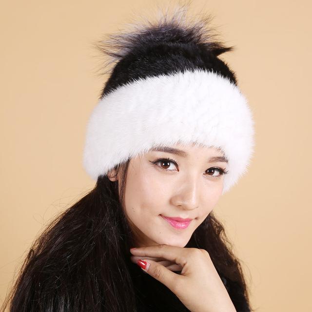 Venta caliente sombrero de piel de visón real para las mujeres de invierno de punto de visón gorros casquillo con pompones de piel de zorro nuevo gruesa casquillo hembra