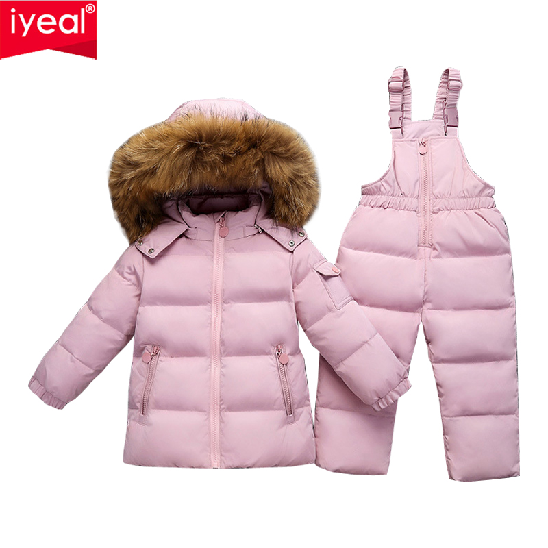 IYEAL Russia Winter Warm Down Jacket for Children Girl Clothes Large Real Raccoon Fur Coat Baby Clothing Sets Kids Boy Snow Wear 2018 winter baby boy down jacket large fur girl down jacket natural fur kids snow wear children down outerwear 90