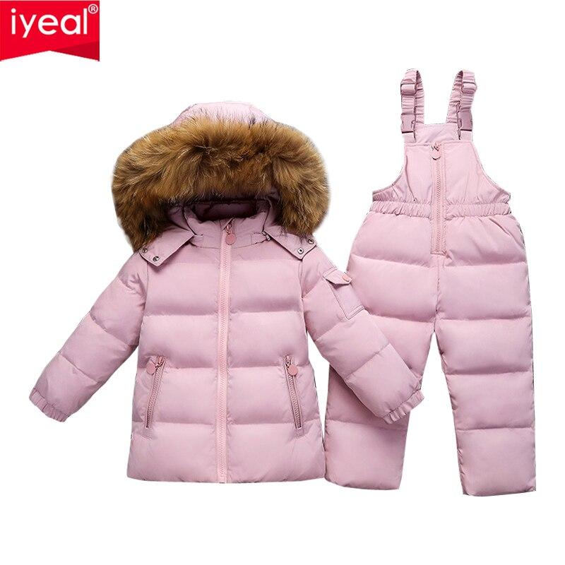 IYEAL russie hiver chaud doudoune pour enfants fille vêtements grand réel fourrure de raton laveur manteau bébé vêtements ensembles enfants garçon vêtements de neige