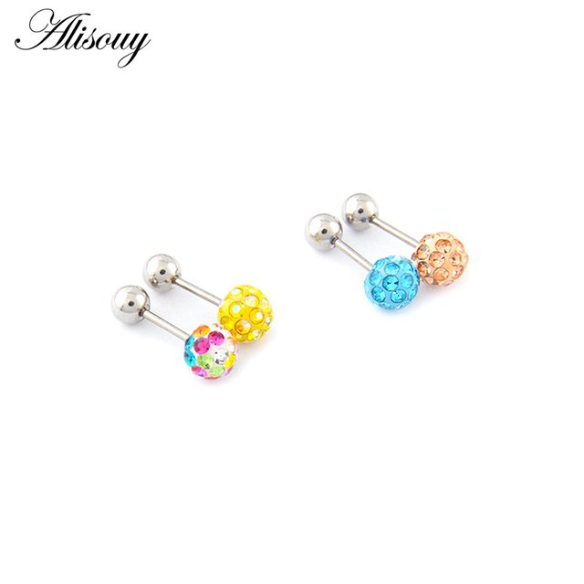 Alisouy 2pcs/lot 3/4/5/6mm 316L Stainless Steel Epoxy Crystal Threaded Ball Body Piercing Jewelry 20GLip Labret Eyebrow Ear Ring 4