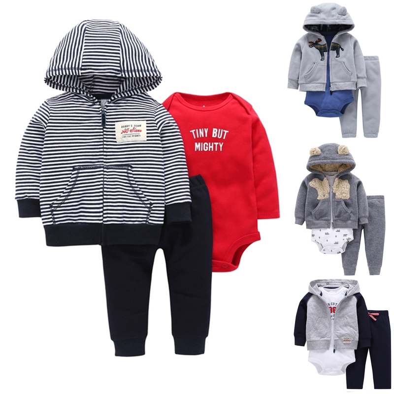 Carter Toddler Boy 3 Pcs Clothing Set (Animal Hooded Coat+Long Sleeve Bodysuit+Long Pants) 6 To 24 Months Baby