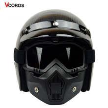 VCOROS vintage moto rcycle casco in fibra di carbonio retro aperto mezzo del fronte moto rbike caschi uomo donna moto da corsa nero opaco caschi