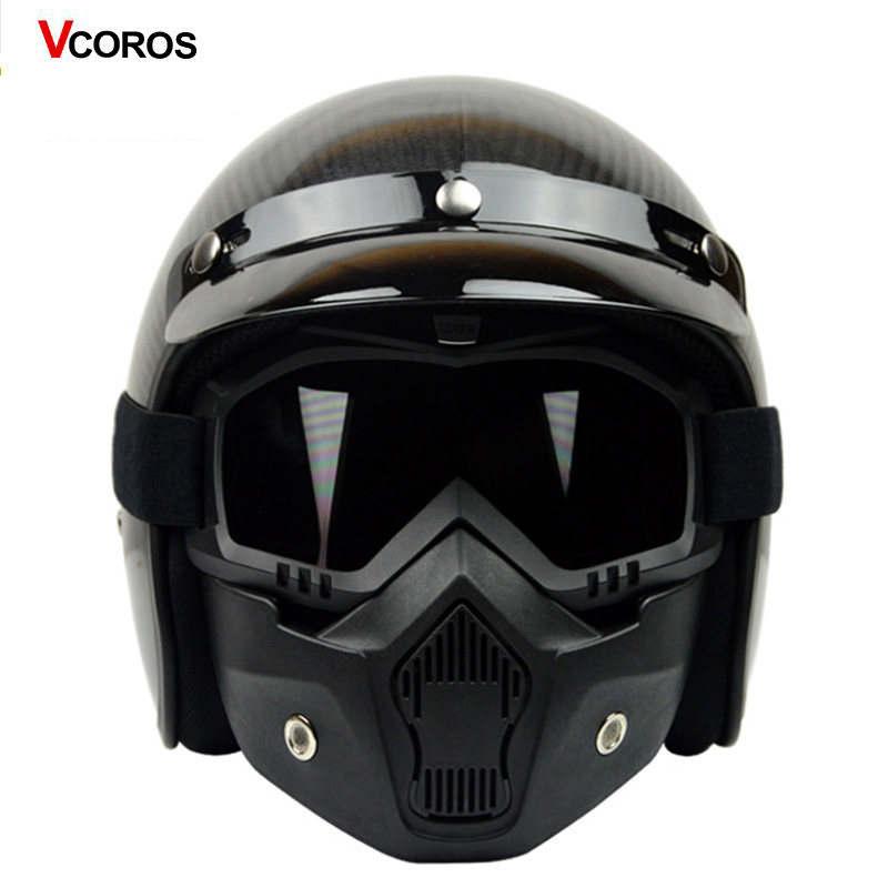 VCOROS vintage motorcycle helmet carbon fiber retro open face half motorbike  helmets man woman moto racing matte black helmets