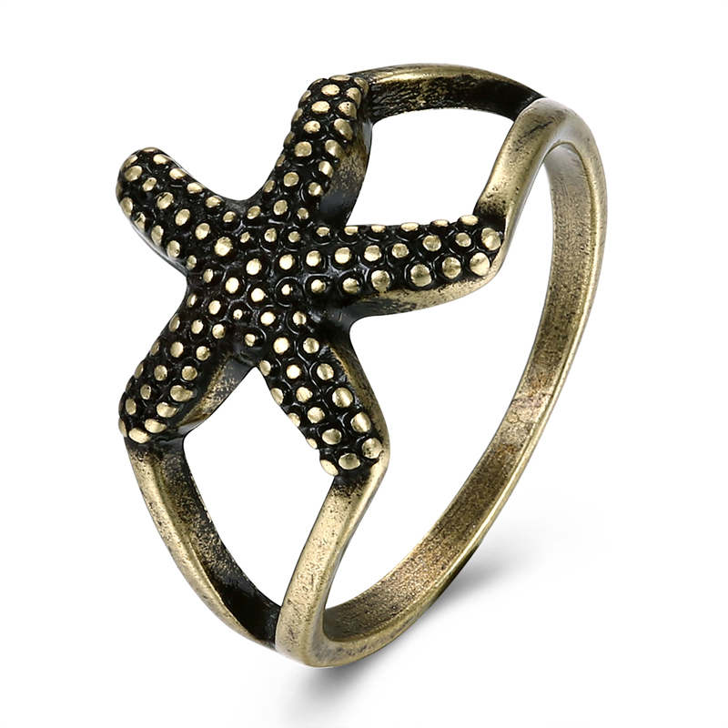 PATICO Cute Sea Star Shape Vintage Antique Bronze Color Finger Rings for Women Gils Party Jewelry Anillos Bague Femme