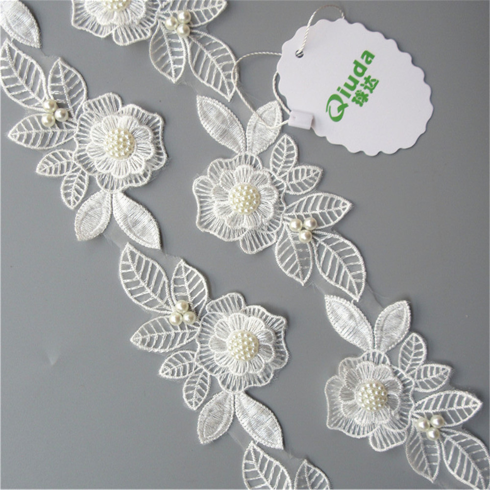 """6yd 1/"""" Embroidered Flower Ribbon Decorating Lace and Trims DIY Sewing Crafts"""