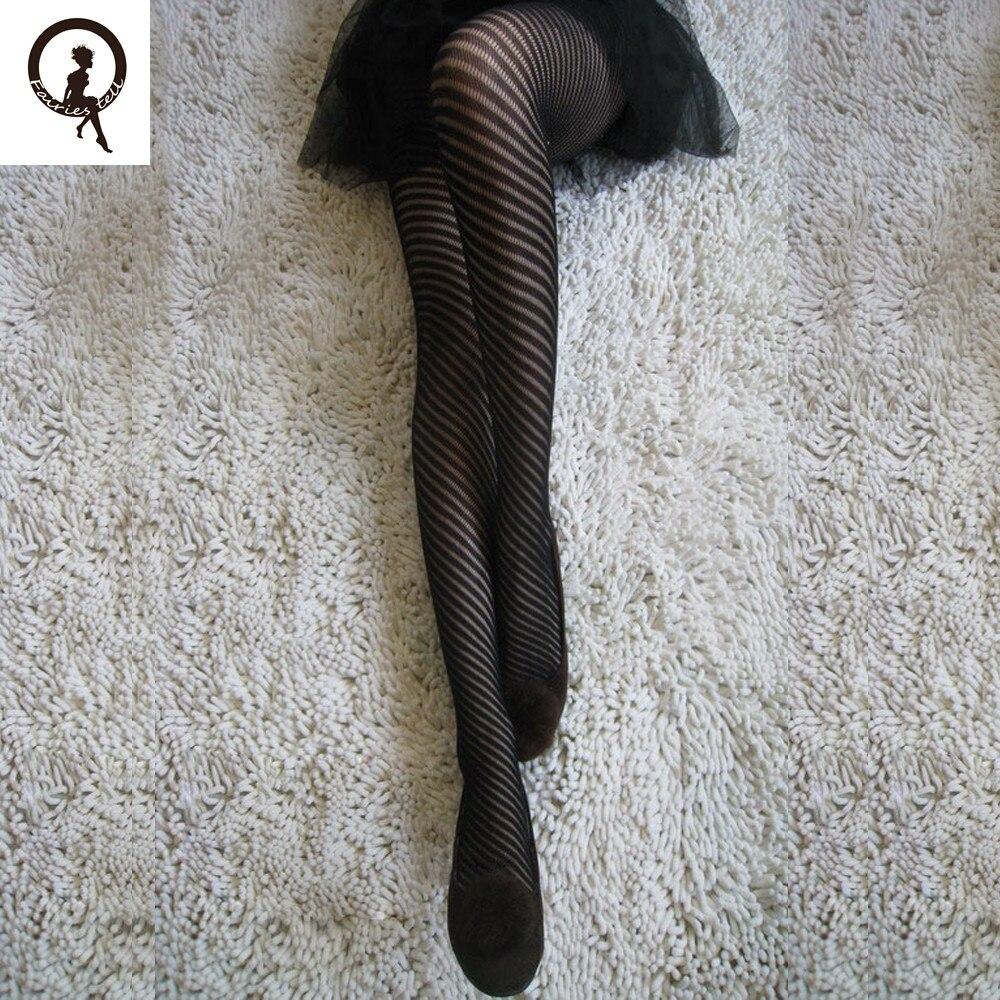 Buy Fairies tell Fashion Women's Tights Net Fishnet Body stockings Stripe Pattern Printed High Pantyhose Stockings female ST87