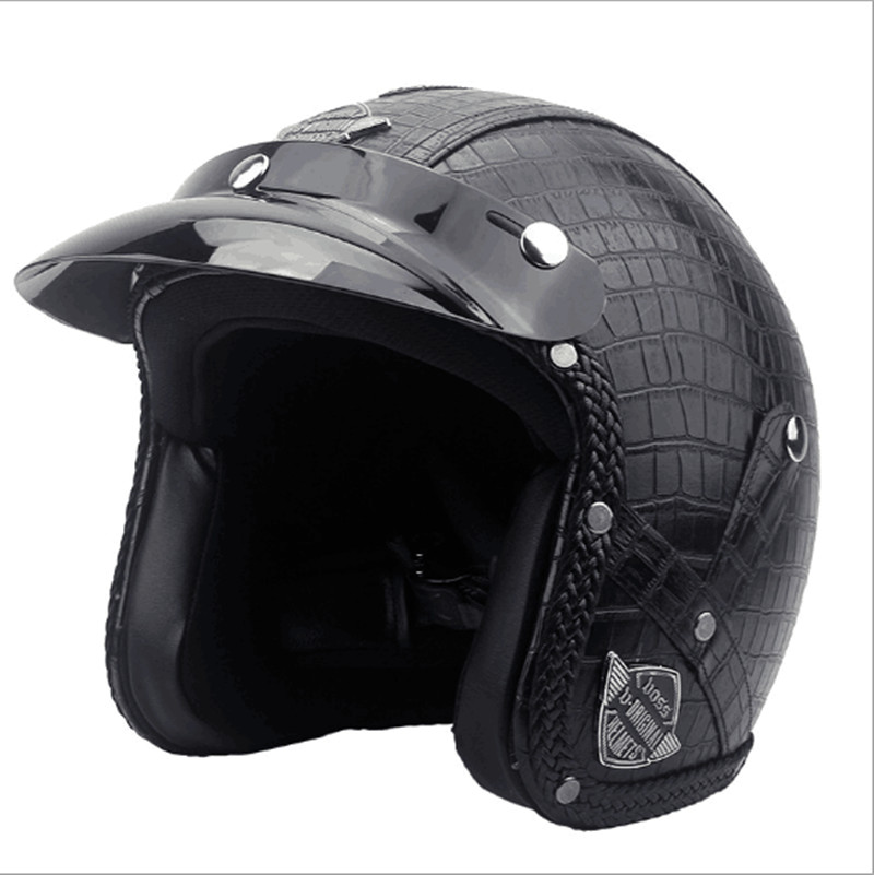 En cuir 3/4 open face vintage scotter moto moto casque capacete cascos moto rétro casque casco de motocicleta vespa