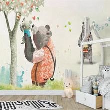 Cute bear big tree childrens room background wall professional production mural wholesale wallpaper custom photo