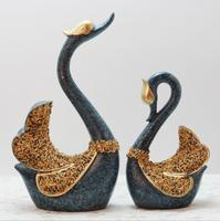 A Couple of Swan Figurine Handicraft Home Decoration Accessories Golden Swan Statue Swan Resin Wedding Decor Crafts Gifts