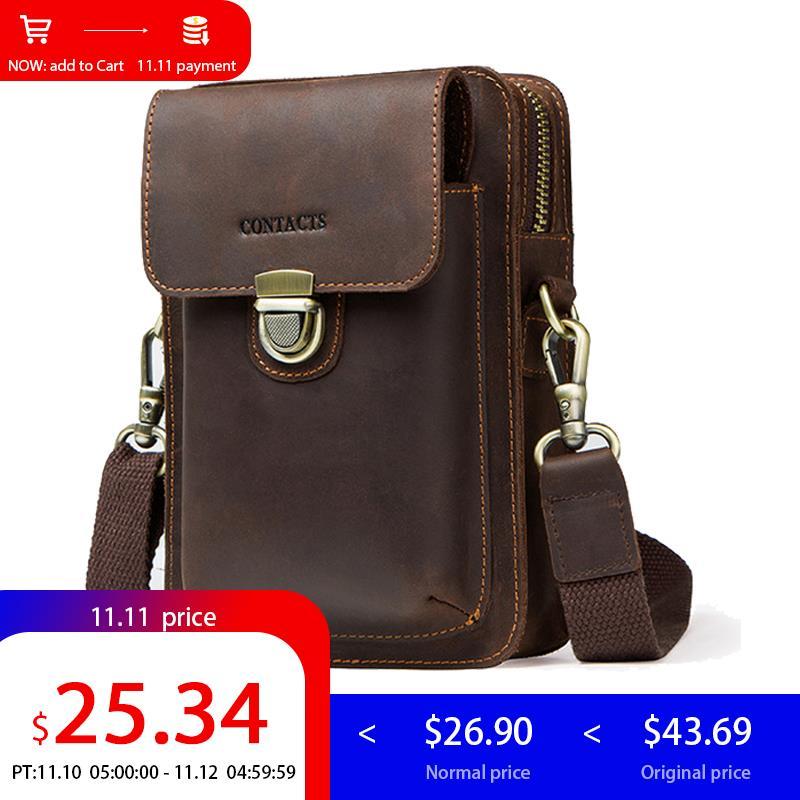 Contact's Genuine Leather Waist Bag Men Shoulder Bag Phone Fanny Pouch Crossbody Bag Belt Men Messenger Bag Hip Small все цены