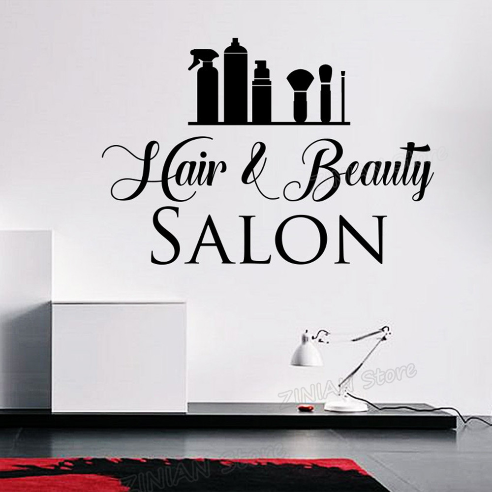 Hair and Beauty Salon Wall Vinyl Decal Home Living Business Signage Decor Sticker Store  ...
