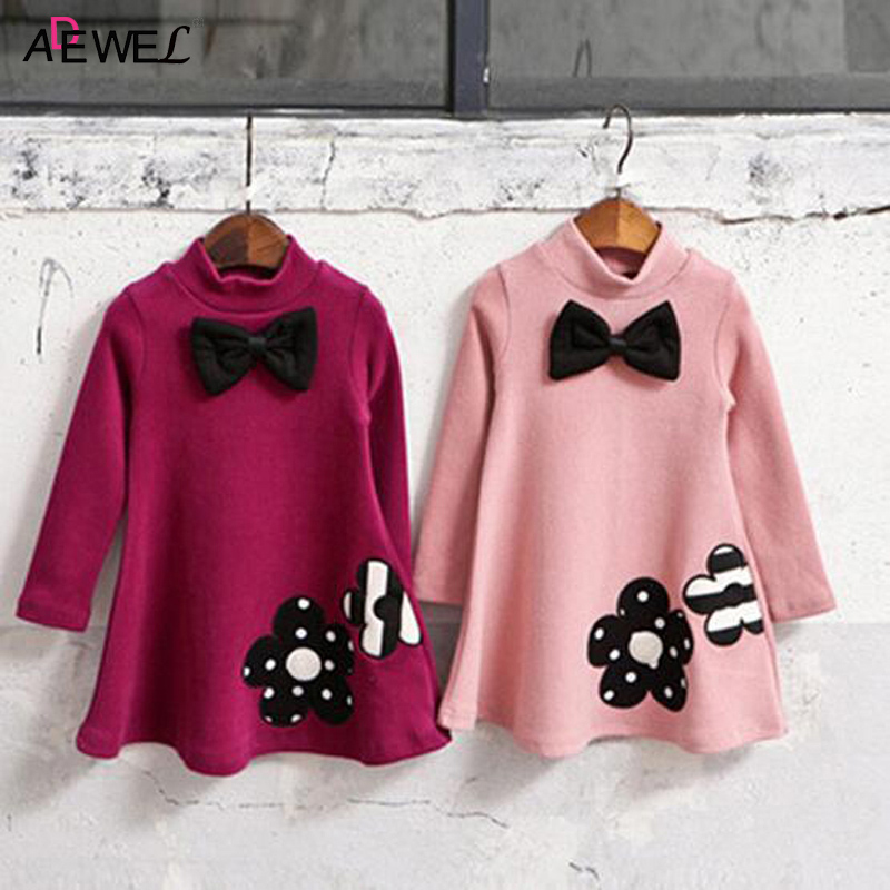 Turtleneck Winter Girls Dress 2018 New Long Sleeve Thick Warm Kids Dresses for Girls Flower Bow Casual Autumn Children Clothing sweater dress new autumn winter women warm thick turtleneck sexy knitted dress long sleeve casual bodycon dresses vestidos ab410
